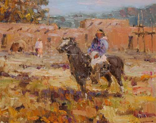 Canvas Santa Fe >> Don Brackett Painting - 25008 - Adobe Gallery, Santa Fe