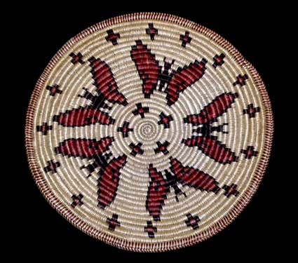 Large San Juan Paiute Basket With Butterflies Southwest