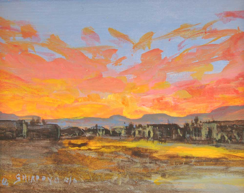 Isleta Pueblo Village Panorama Painting By Ed Jojola