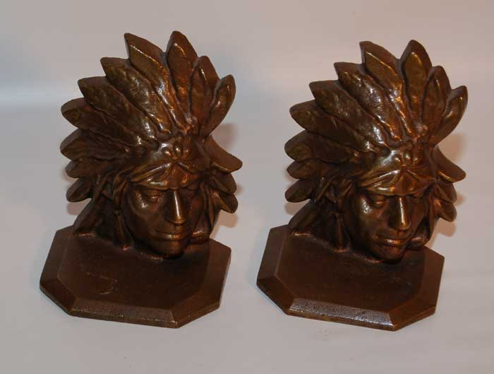 Other Fine Southwest Collectibles Early Native American Bookends Bronze Plains Indian