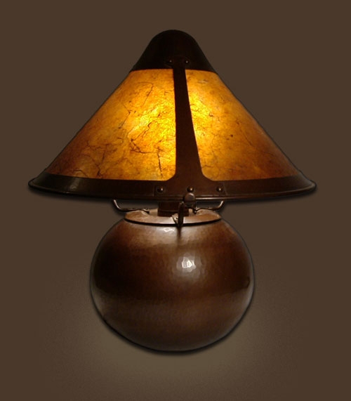 Hand Hammered Copper Lamp With Mica Shade By Michael Adams