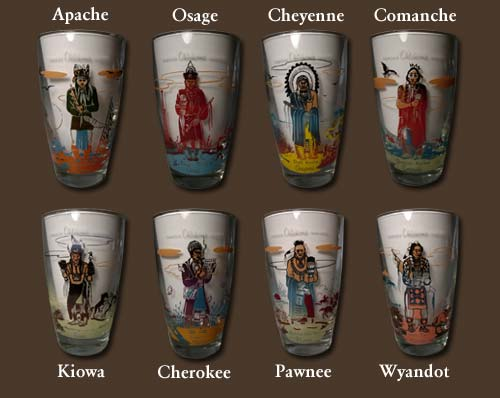Famous Oklahoma Indians Glass Set By Acee Blue Eagle
