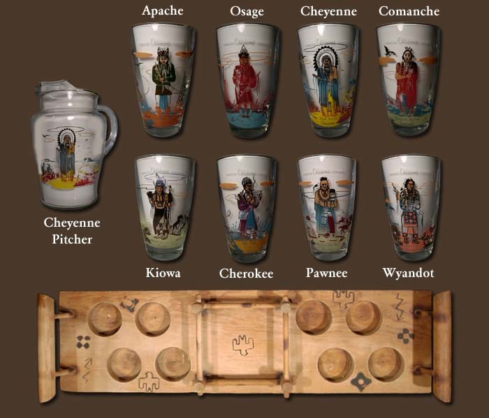 Famous Oklahoma Indians Glass Set by Acee Blue Eagle - Creek - Adobe
