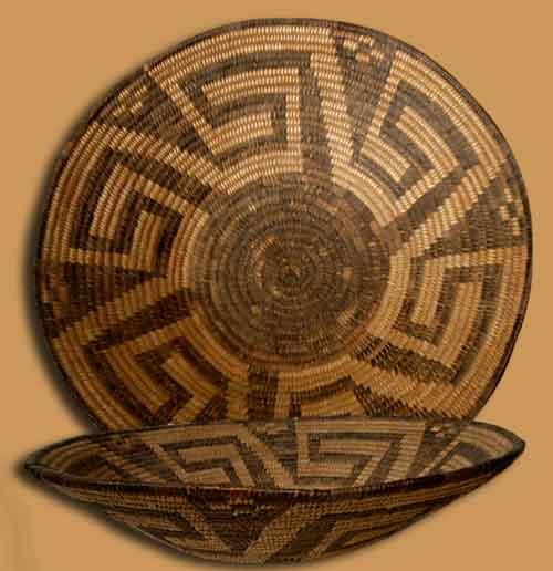 Large Deep Bowl With Frets Southwest Indian Baskets