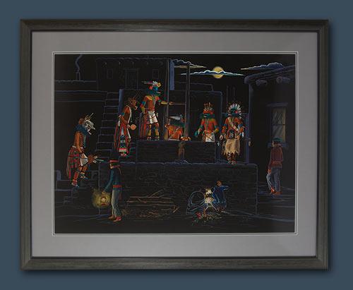Hopi Pueblo Katsina Night Kiva Scene Painting By Raymond