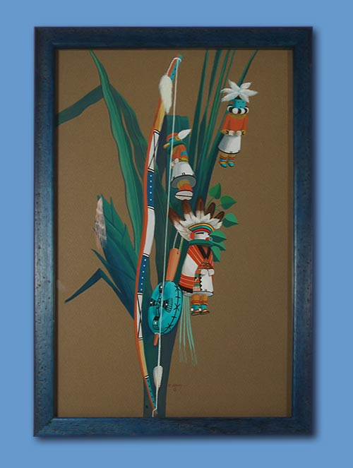 Hopi Pueblo Still Life Of Ceremonial Material Painting By Raymond Naha Fine Art Native