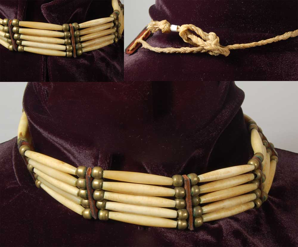 Brass Leather And Bone Choker Of Plains Indian Style Adobe Gallery Santa Fe