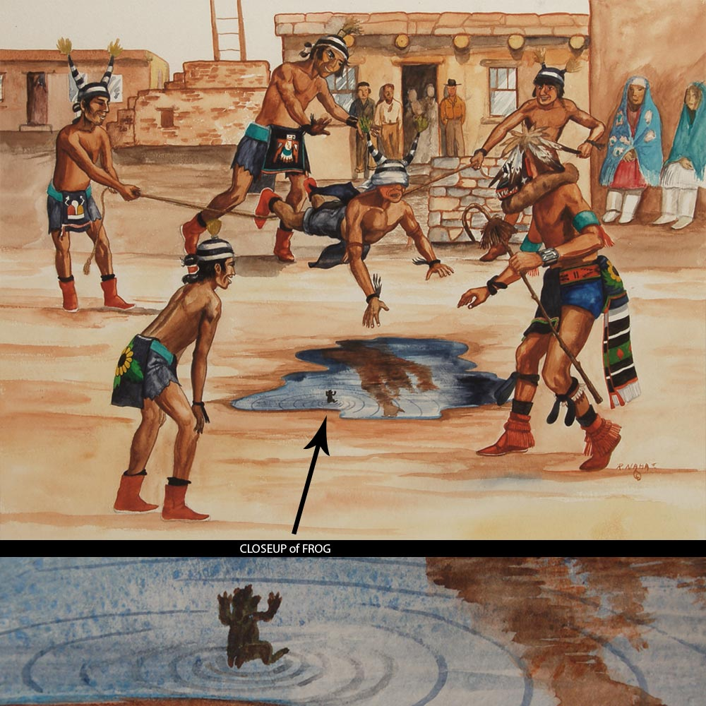 Hopi Pueblo Koshari Clowns And Mud Puddle Painting By
