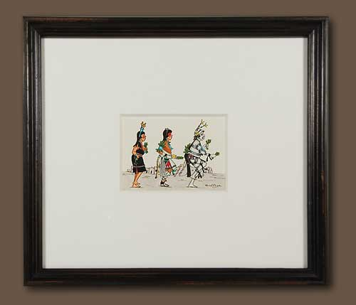 Miniature Painting Of San Ildefonso Pueblo Corn Dance J D Roybal Fine Art Native