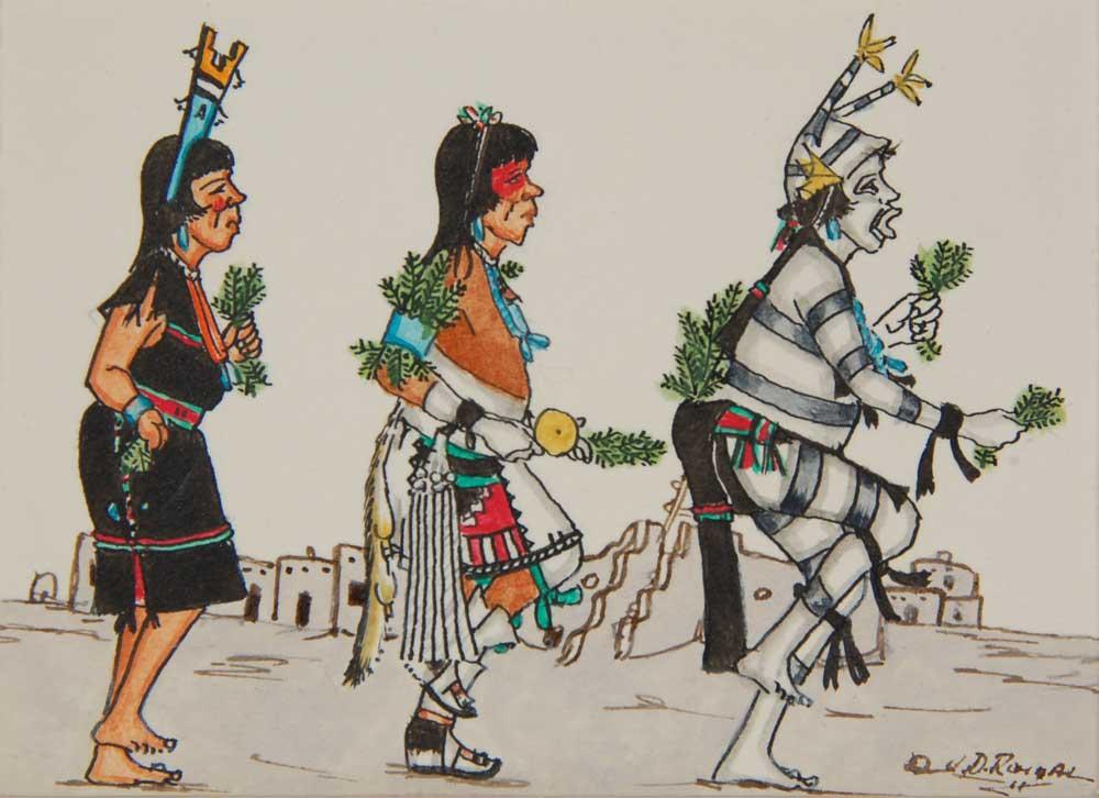 Miniature Painting Of San Ildefonso Pueblo Corn Dance J