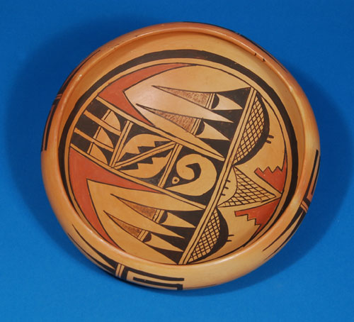 Hopi Pueblo Polychrome Dish With Bird Designs By Marcella
