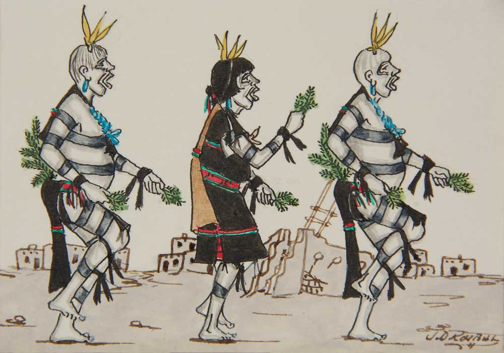 Miniature Painting Of San Ildefonso Pueblo Clown Dance Ceremony Fine Art Native American