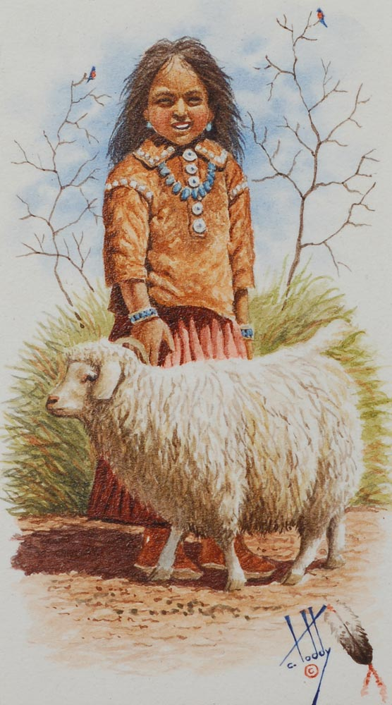 Miniature Painting Of Young Din 233 Navajo Girl And Her Sheep