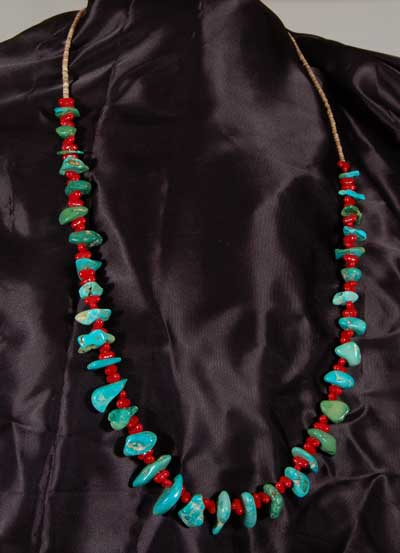 Kewa Pueblo Turquoise, Shell and Red Glass Bead Necklace ...