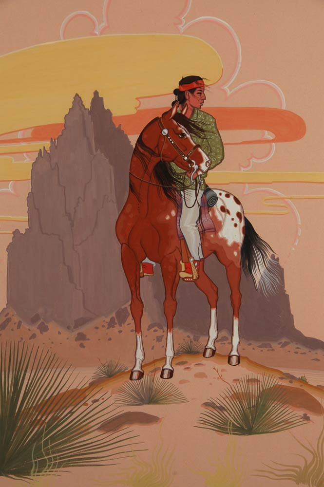 din navajo painting of man on horseback with shiprock