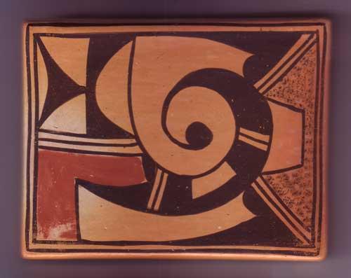 Hopi Pueblo Polychrome Pottery Tile By Garnet Pavatea