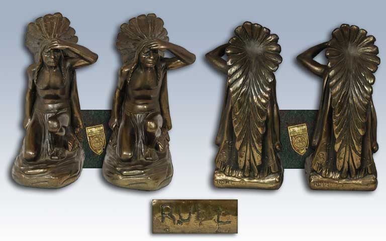 Other fine southwest collectibles arts crafts movement bookends the armor bronze - Armor bronze bookends ...