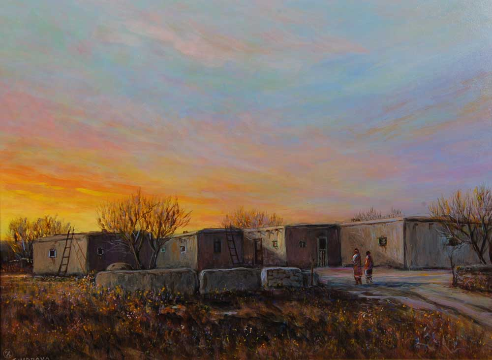 Isleta Pueblo Original Acrylic Painting By Ed Jojola