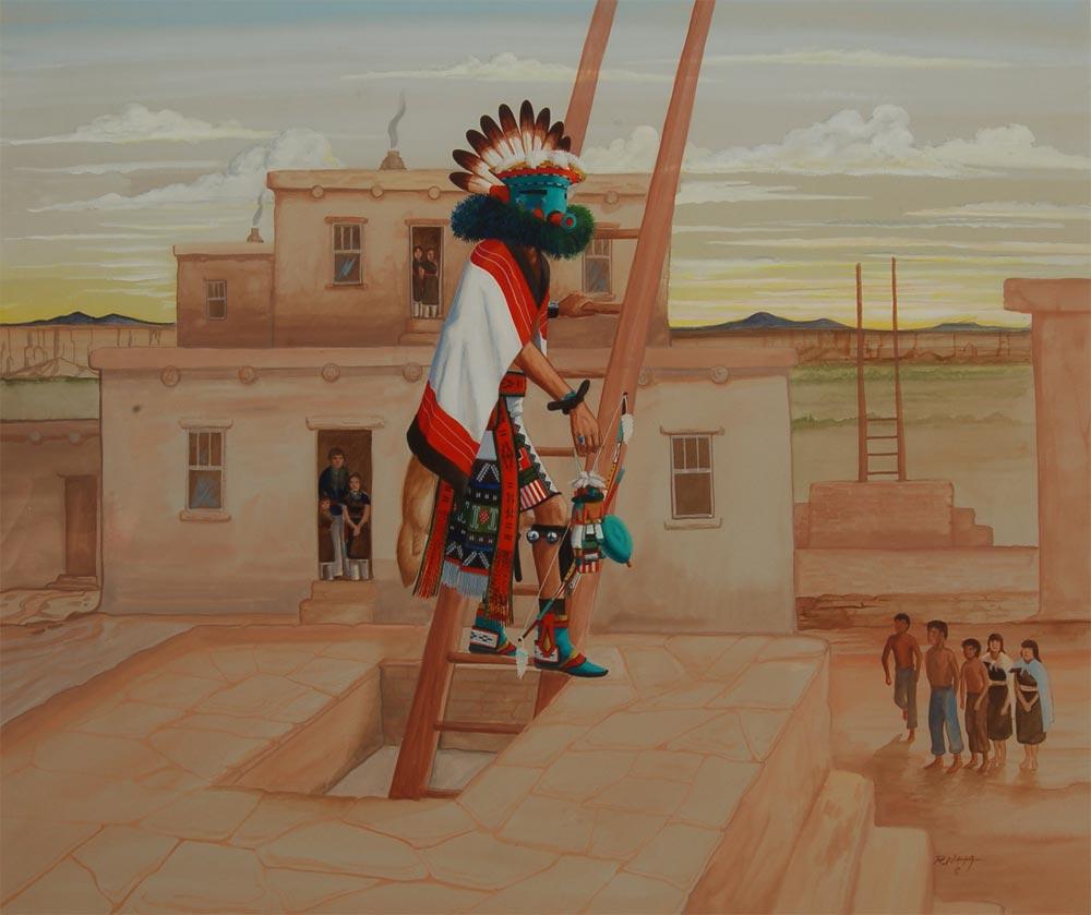 Hopi Talavai Katsina Exiting Kiva Painting By Raymond Naha
