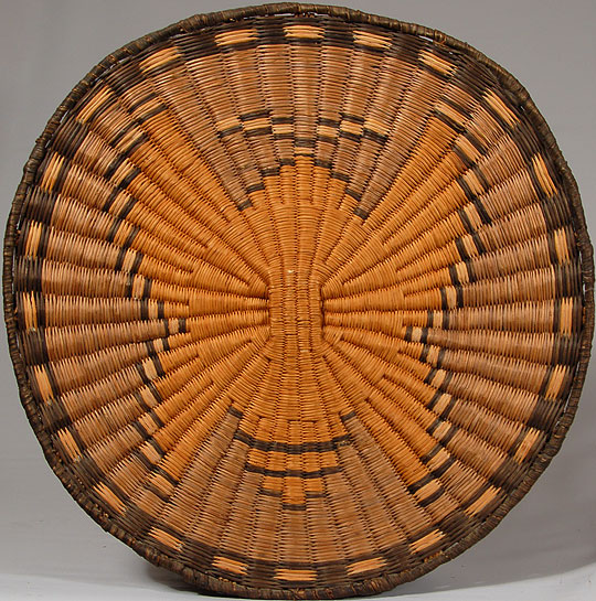 Hopi Third Mesa Wicker Plaque With A Yellow Butterfly