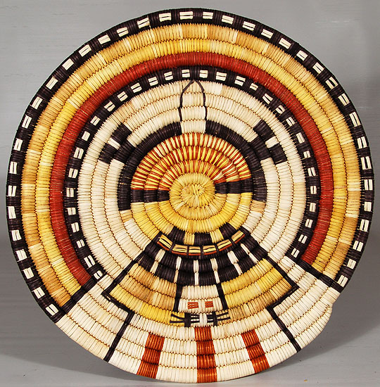 Hopi Second Mesa Pictorial Basket Of Kachinmana Katsina By
