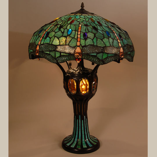 tiffany style dragonfly lamp shade and mosaic lamp base adobe. Black Bedroom Furniture Sets. Home Design Ideas