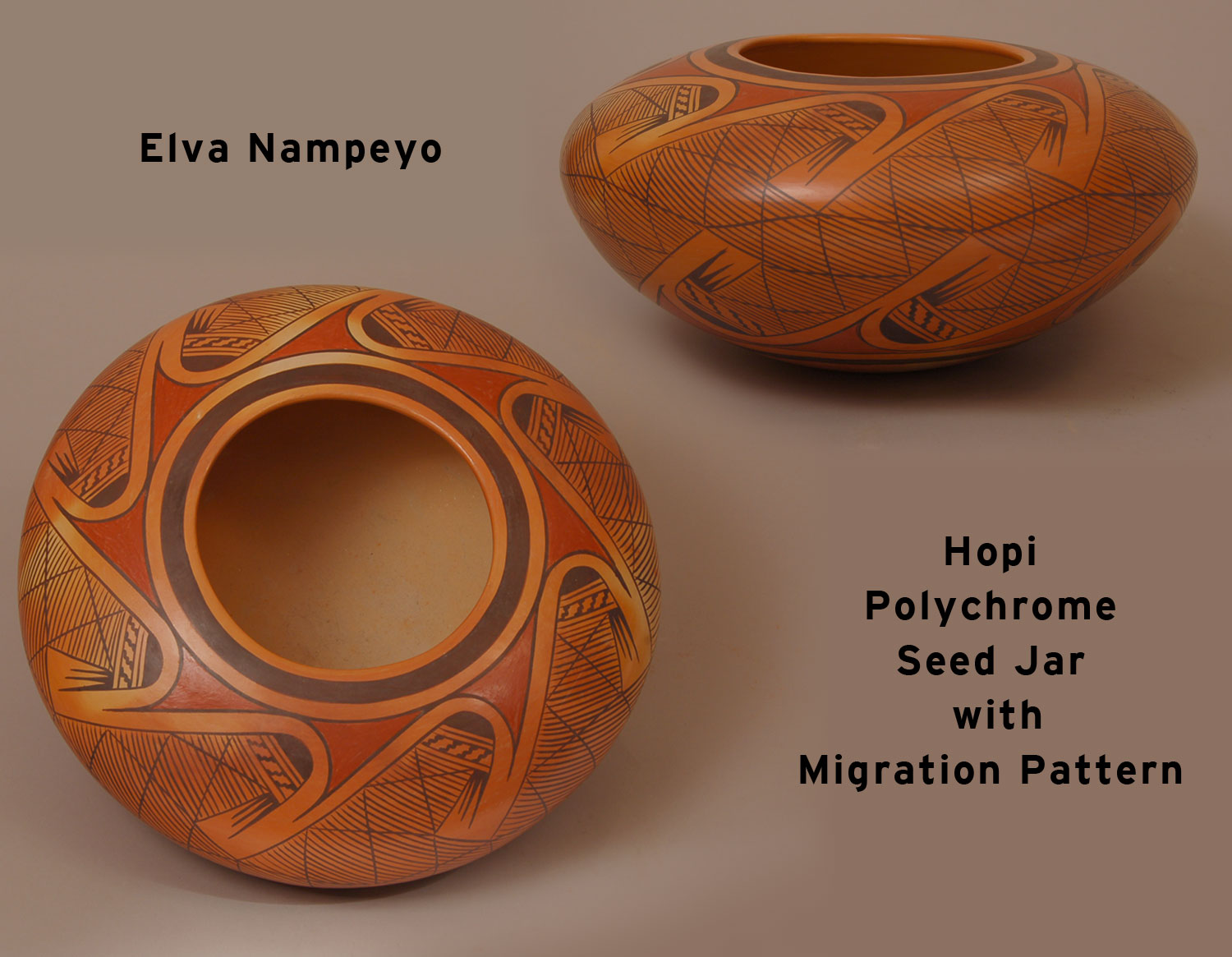 Hopi Polychrome Seed Jar with Migration Pattern by Elva Tewaguna Nampeyo - Southwest Indian ...