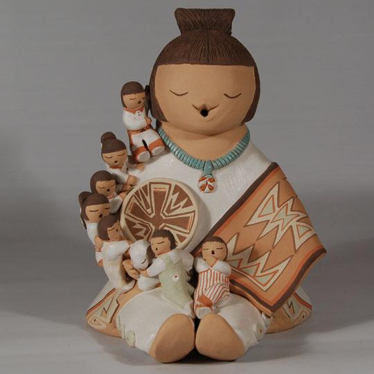 Isleta Pueblo Storyteller With 7 Children Of A Din 233 Navajo Female By Stella Teller Southwest