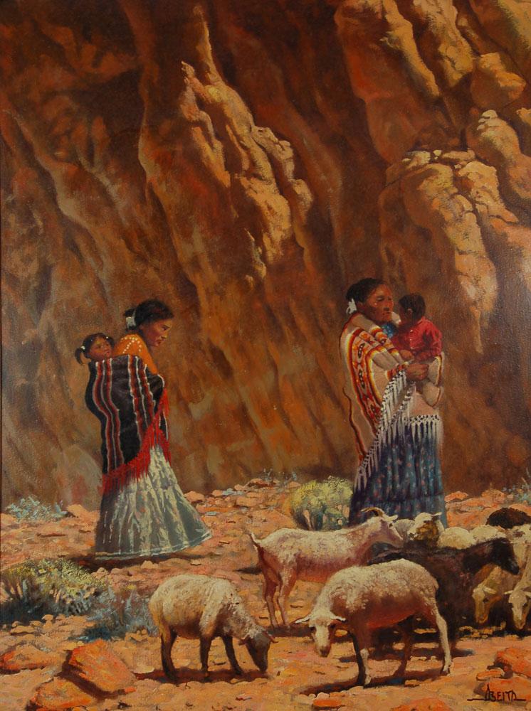 Din 233 Navajo Family Tending Its Sheep Fine Art Native