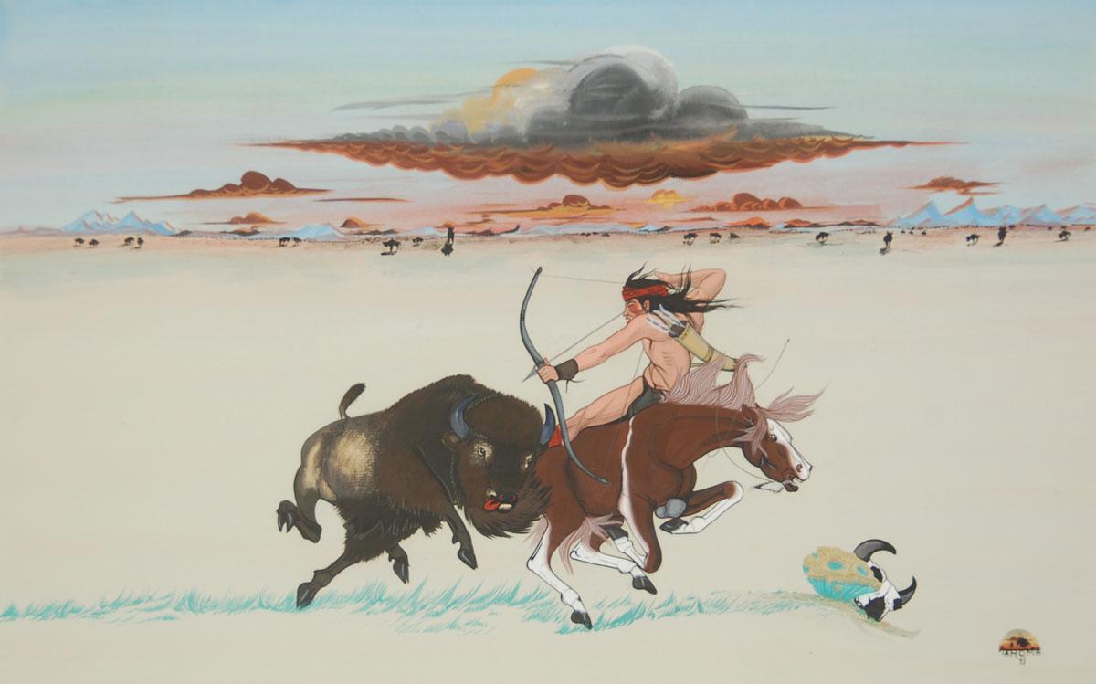 din u00e9  navajo  painting of a buffalo hunt fine art native