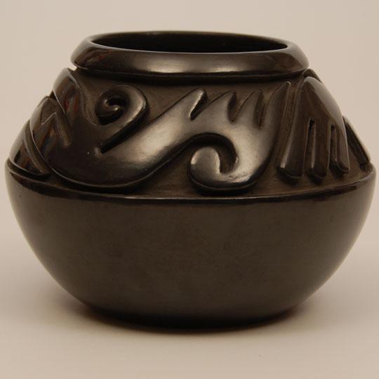 Santa Clara Black Carved Jar Teresita Naranjo Adobe