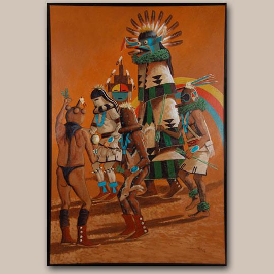 Native Painting Navajo C3381a Adobe Gallery Santa Fe