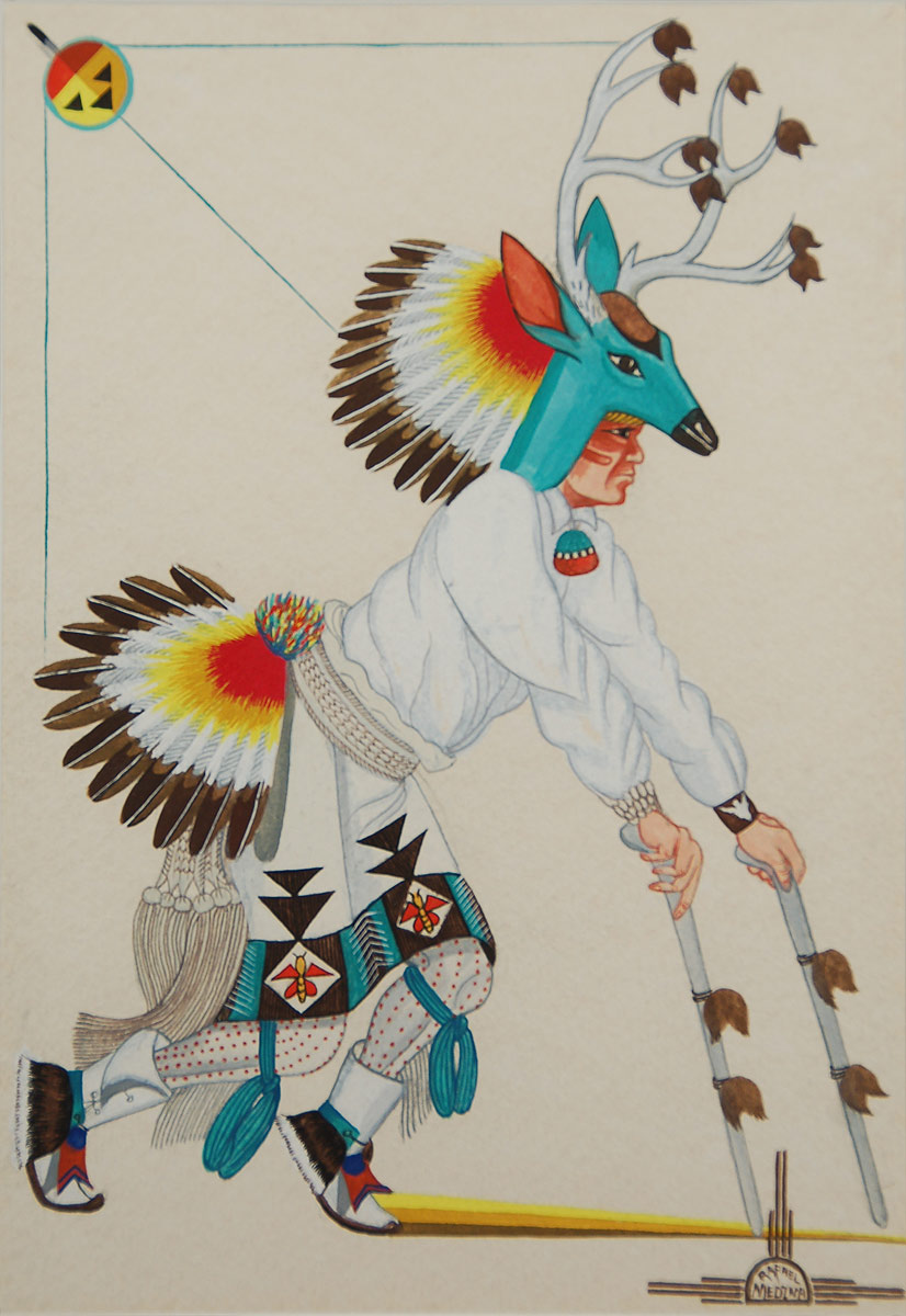 Canvas Santa Fe >> Fine Art | Native American Paintings | Native American Artwork | Painting | Zia Pueblo | Rafael ...