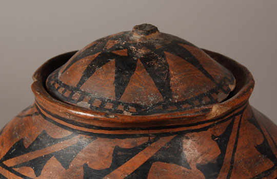 Tesuque Pueblo Black-on-red Jar with Lid - top view