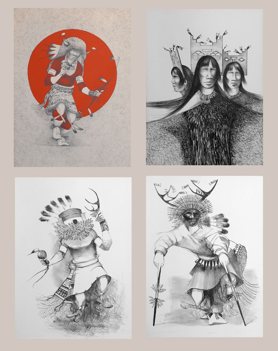 This original stone lithograph of a pair of Tewa Eagle Dancers is from a portfolio of five original lithographs by Patrick Swazo Hinds (1929-1974) of Tesuque Pueblo completed two years before he passed away.  It is one of five images in the complete portfolio.  Here are the other four.