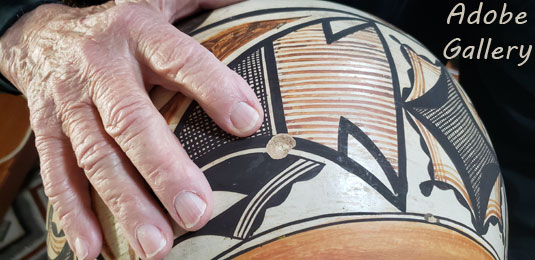 Condition:  this Historic Acoma Polychrome Pottery OLLA with Zuni Designs is in very good condition with one small fingernail sized pop out near the base.