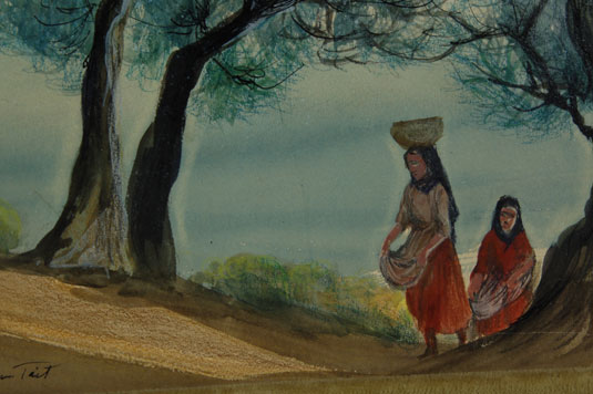 This painting does not have a title affixed but it appears to be two Pueblo women, one with a pot on her head, and both carrying in their aprons as if they have been out picking berries or fruit.  The painting is signed in lower left.