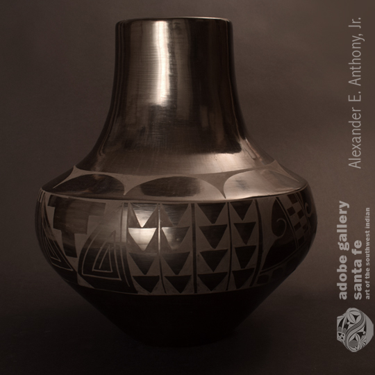 San Ildefonso Very Large Black-on-black Jar.  Part of our Artworks of San Ildefonso Pueblo Special Exhibit.