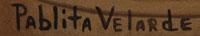 Signature of the artist: Pablita Velarde (1918-2006) Tse Tsan - Golden Dawn