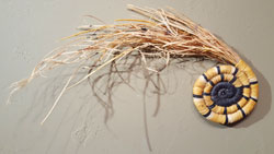 Shown here is an image of how a coiled plaque is made from grasses and yucca.