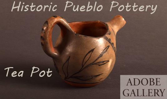 Alternate side view of this Pueblo Pottery Tea Pot.