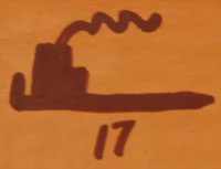 The tile is signed on the back with the artist's Pipe Hallmark Logo and the year '17. The pipe hallmark signifies Mark's belonging to the Tabacco Clan of Hopi Pueblo.