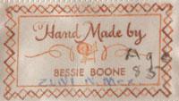 Bessie Boone (ca.1909-ca.1999) label signature
