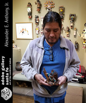 Kevin Pochoema - with this Hopi All Wood Sakwahote - Blue Ahote Katsina Doll Item # 26066.
