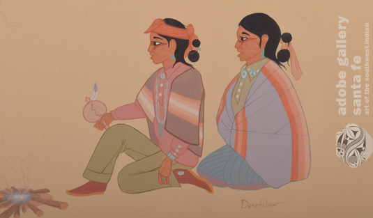 Close up view of a section of this painting young Diné (Navajo Nation) children.