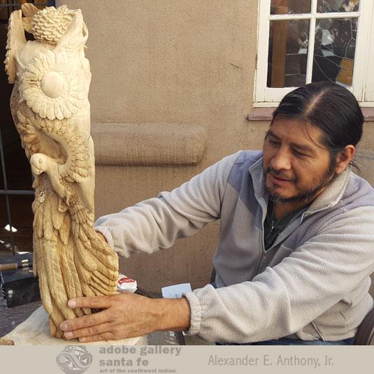 Kevin Pochoema, Hopi Pueblo Carver at Adobe Gallery, Santa Fe.