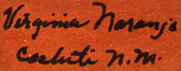 Artist Signature - Virginia Naranjo, Cochiti Pueblo Potter