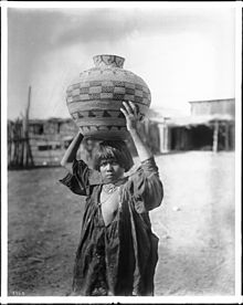Apache Indian girl with Olla basket