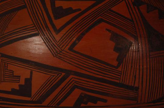 Hopi Black On Red Jar With Prehistoric Inspired Design By