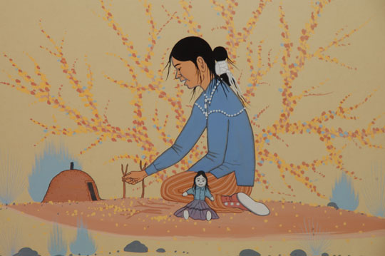 Painting Of A Navajo Girl With Her Doll Adobe Gallery